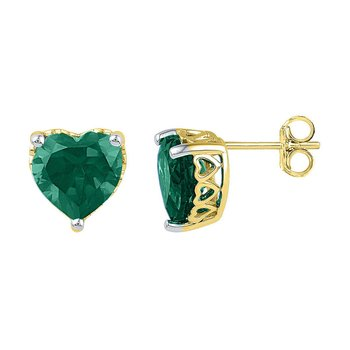10kt Yellow Gold Womens Heart Lab-Created Emerald Heart Stud Earrings 5-1/2 Cttw