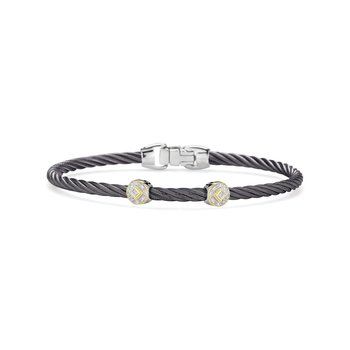 Steel Grey Cable Essential Stackable Bracelet with Double Round Diamond Station set in 18kt Yellow Gold