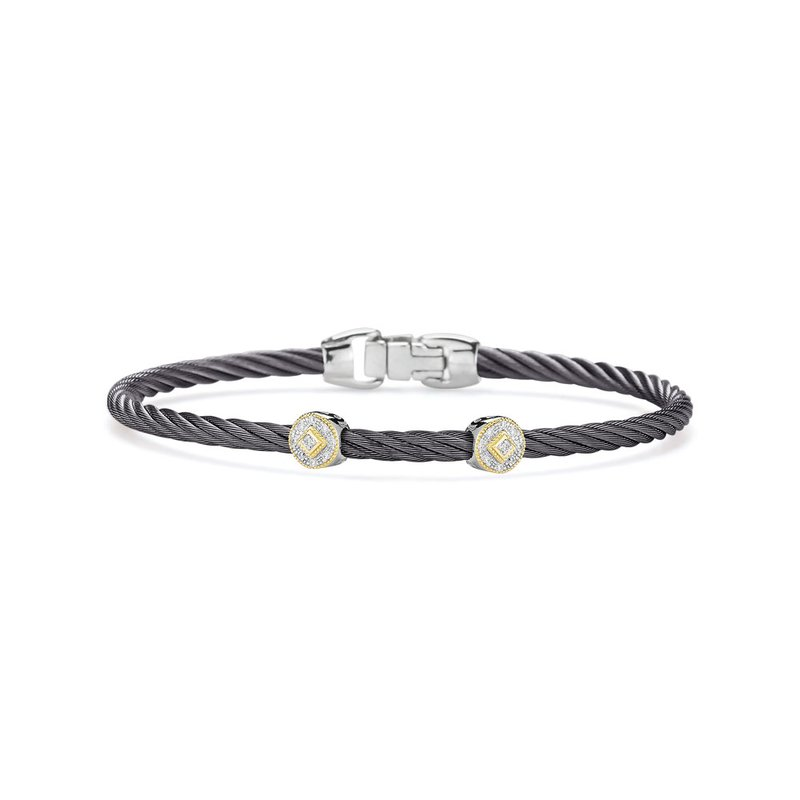 ALOR Steel Grey Cable Essential Stackable Bracelet with Double Round Diamond Station set in 18kt Yellow Gold