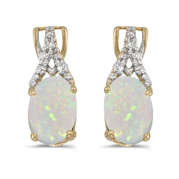 10k Yellow Gold Oval Opal And Diamond Earrings