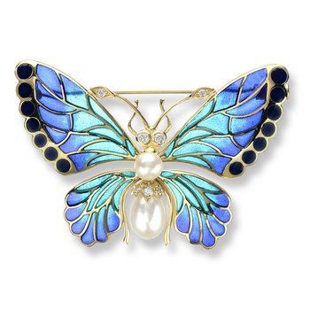 Blue Butterfly Brooch.18K -Diamonds and Freshwater Pearls - Plique-a-Jour
