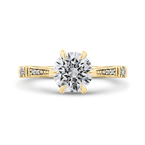 18K Yellow Gold Round Cut Diamond Engagement Ring (Semi-Mount)