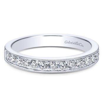 14K White Gold  Victorian Micro Pave Straight  Diamond Band