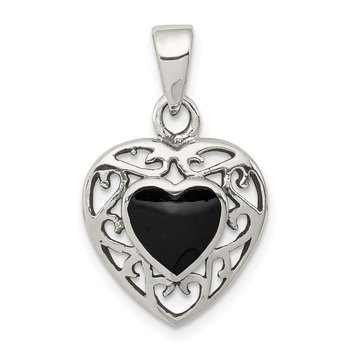 Sterling Silver Filigree Frame Onyx Heart Antiqued Heart Pendant
