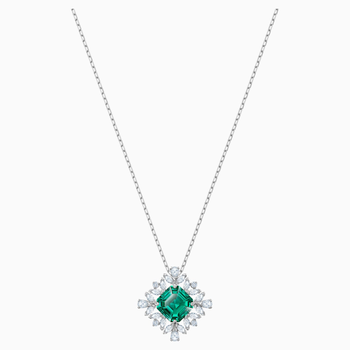 Palace Necklace, Green, Rhodium plated