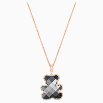 Teddy Pendant, Black, Rose-gold tone plated