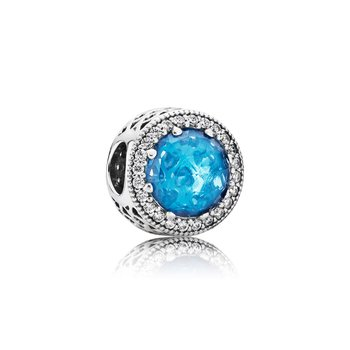 Radiant Hearts Charm, Sky-Blue Crystal Clear Cz