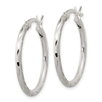 Sterling Silver Satin Diamond-cut 2x25mm Hoop Earrings
