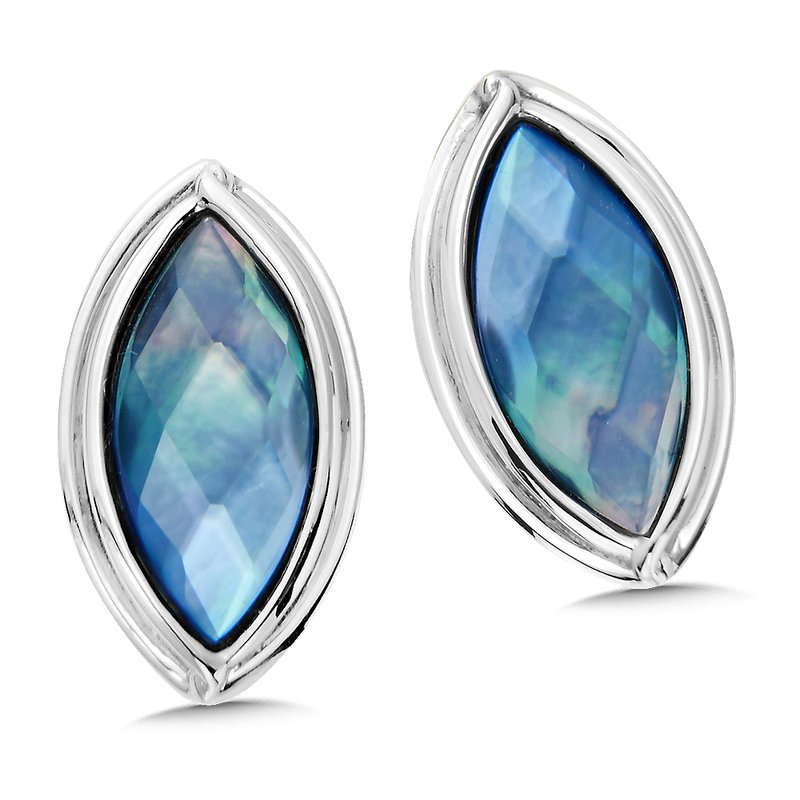 Sterling Silver Dyed Blue Mother of Pearl Fusion Post Earrings