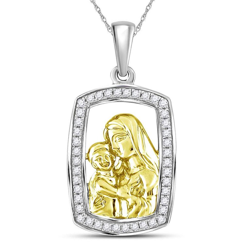 Gold-N-Diamonds, Inc. (Atlanta) Sterling Silver Womens Round Diamond Mom Mother Child Frame Pendant 1/4 Cttw