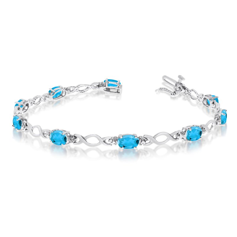10K White Gold Oval Blue Topaz and Diamond Bracelet