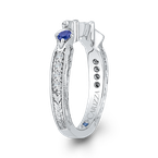 Carizza 14K White Gold Round Diamond Wedding Band with Sapphire