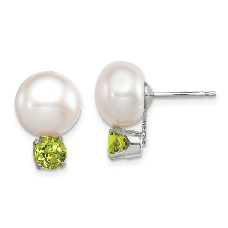 Quality Gold Sterling Silver 10-11mm FW Cultured Button Pearl w/Peridot Earrings