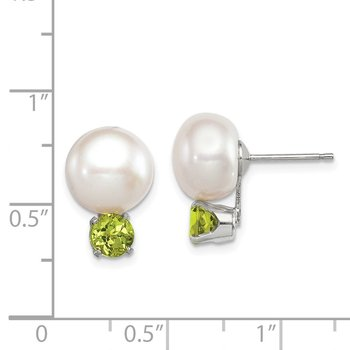 Sterling Silver 10-11mm FW Cultured Button Pearl w/Peridot Earrings