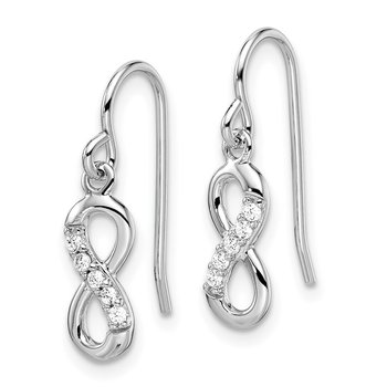 Sterling Silver Rhodium-plated with CZ Infinity Shepherd Hook Earrings