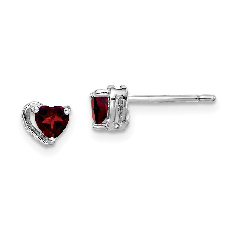 Quality Gold Sterling Silver Rhod-plated Garnet Heart Post Earrings