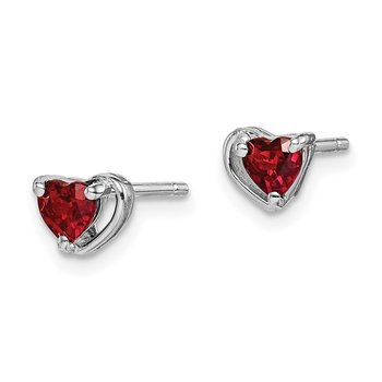 Sterling Silver Rhod-plated Garnet Heart Post Earrings