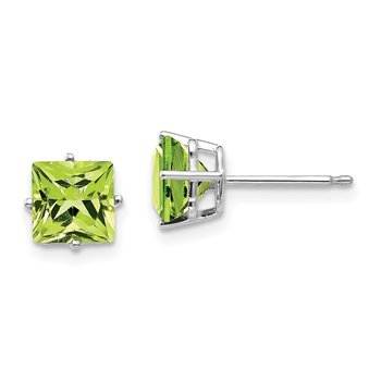 14k White Gold 6mm Square Step Cut Peridot Earrings