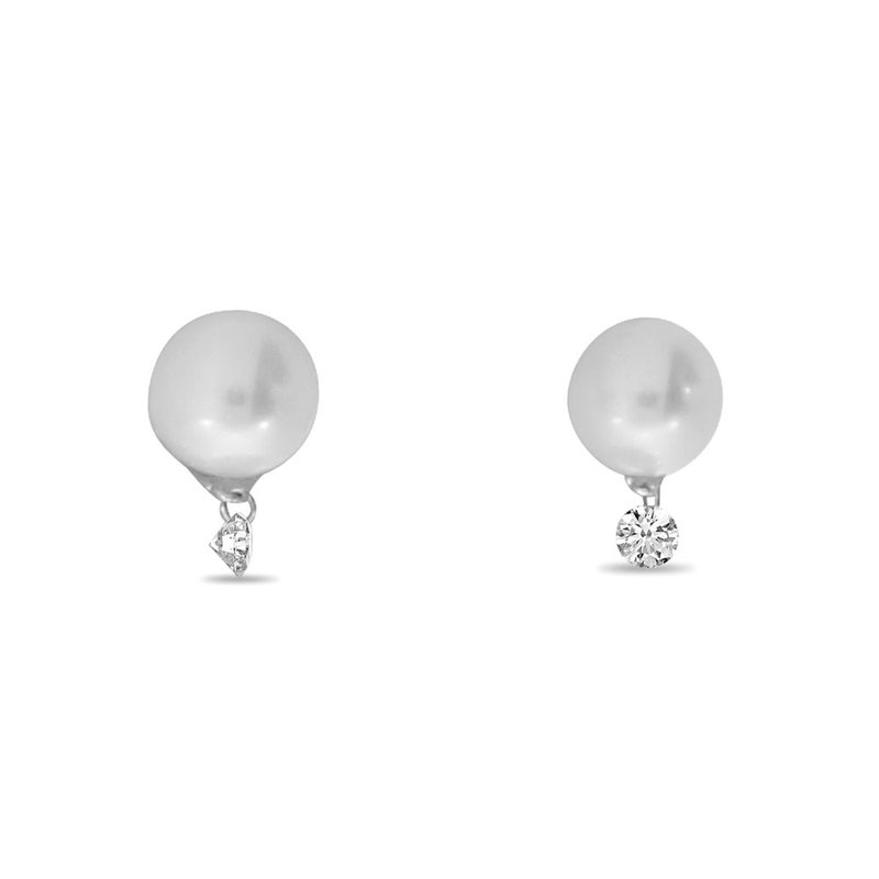 Color Merchants 14K White Gold Pearl Diamond Dangle Earrings