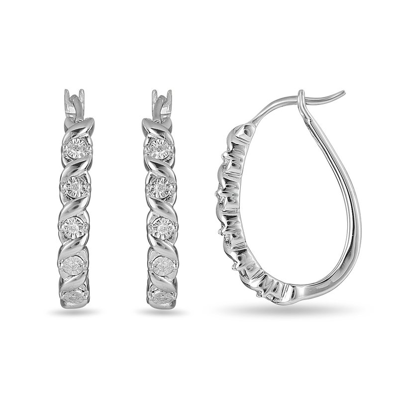 BB Impex 925 SS & Diamond Huggy Earring with Illusion Set Diamonds