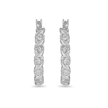 925 SS & Diamond Huggy Earring with Illusion Set Diamonds
