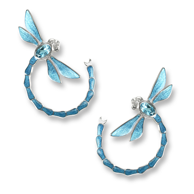 Blue & Green Enamel Sterling Silver Dragon Fly Stud Earrings