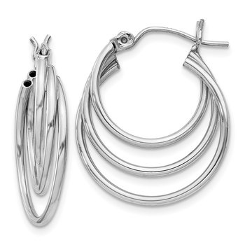 14k White Gold Triple Hoop Earrings