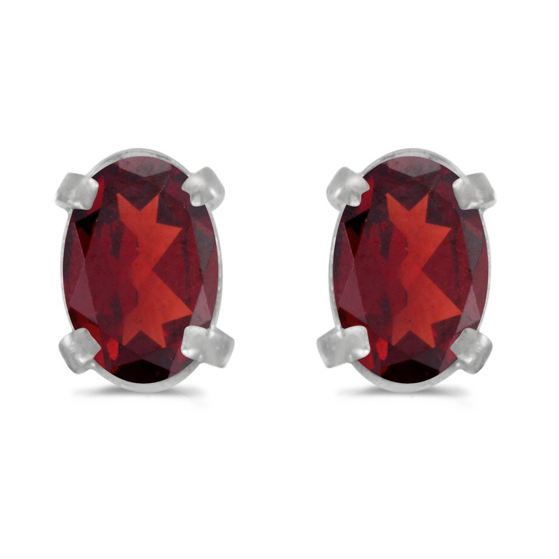 Color Merchants 14k White Gold Oval Garnet Earrings