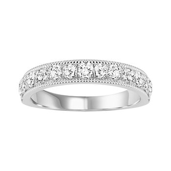 14K Diamond Milgrain Band 3/4 ctw