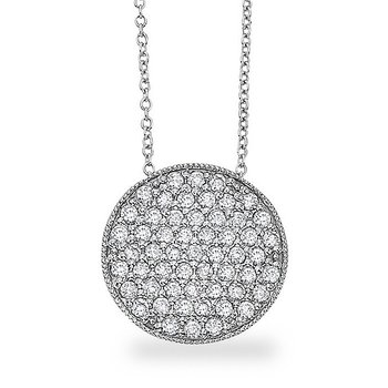 Diamond Disc Necklace in 14k White Gold with 54 Diamonds weighing 1.02ct tw.