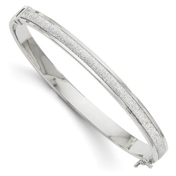 Leslie's 14K White Gold Fancy Glimmer Infused Hinged Bangle