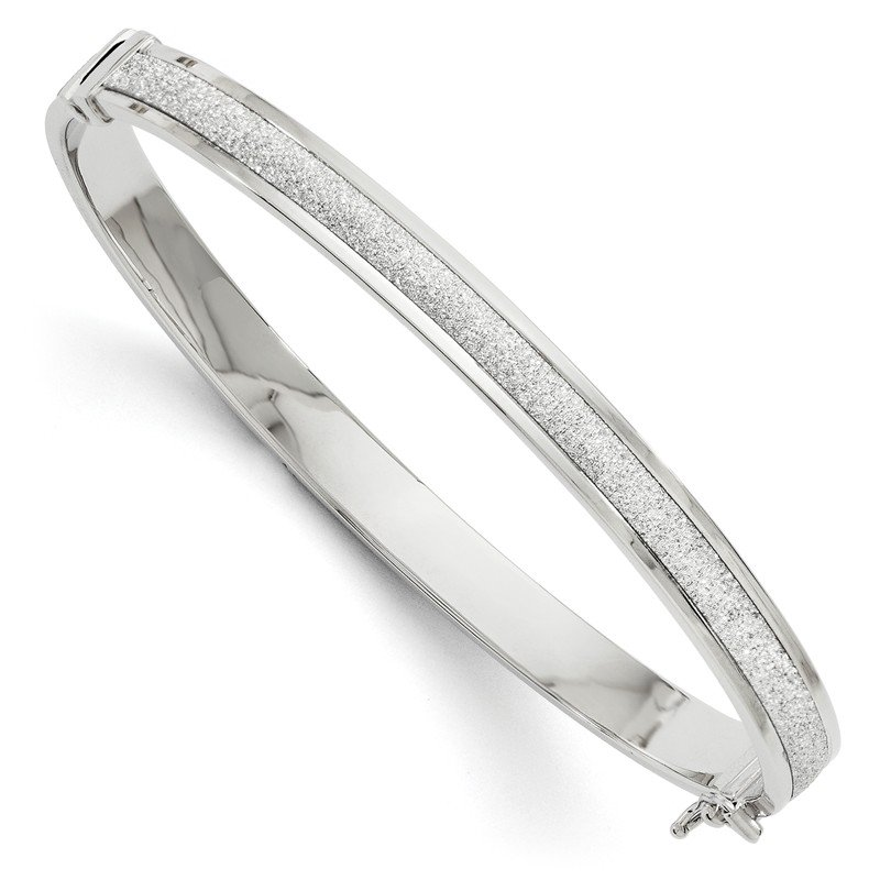 Leslie's Leslie's 14k White Gold Fancy Glimmer Infused Hinged Bangle