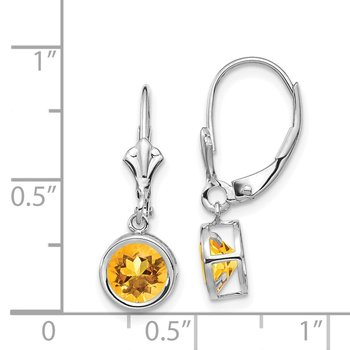 14k White Gold 6mm Citrine Leverback Earrings