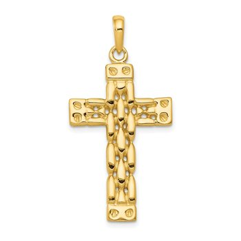 14K Polished Panther Link Style Cross Pendant