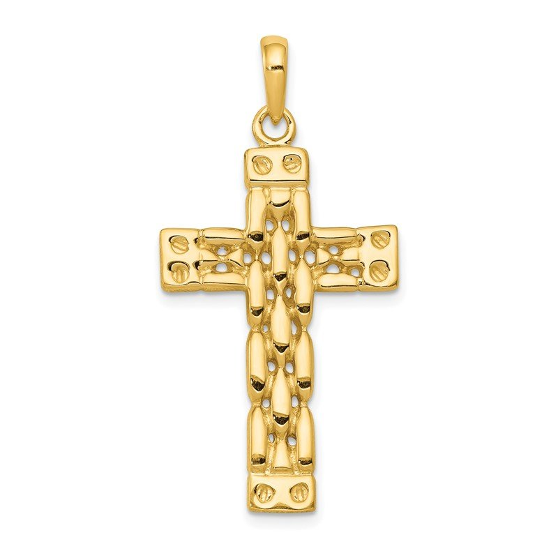 Quality Gold 14K Polished Panther Link Style Cross Pendant
