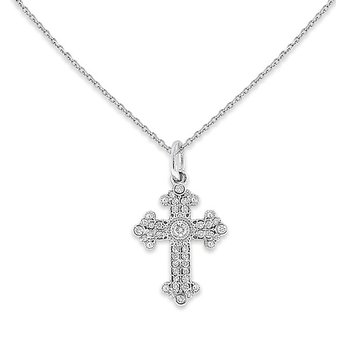 Diamond Small Cross Necklace in 14k White Gold with 37 Diamonds weighing .13ct tw.