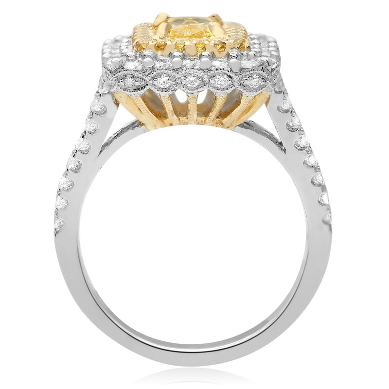 Roman & Jules Split Shank Cushion Cut Diamond Ring