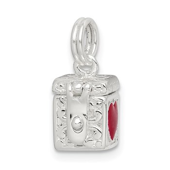 Sterling Silver Enameled Heart Prayer Box Charm