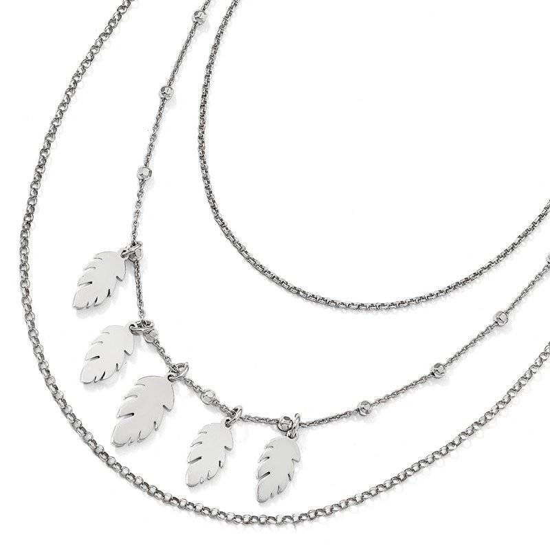 Leslie's Leslie's Sterling Silver Polished Leaf Multi-Strand with 2in ext. Necklace