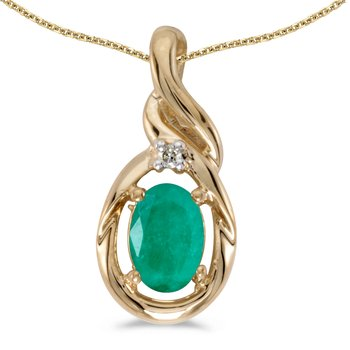 14k Yellow Gold Oval Emerald And Diamond Pendant
