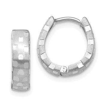 14K White Gold Diamond Cut 4mm Patterned Hinged Hoop Earrings