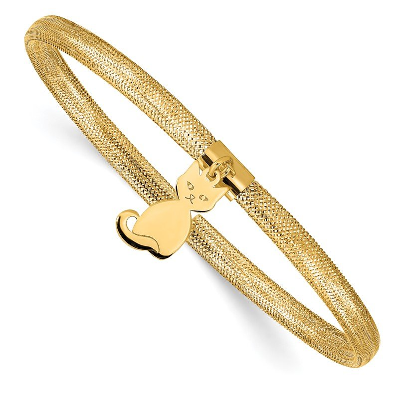 Quality Gold 14K Cat Stretch Mesh Bracelet