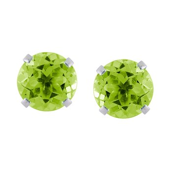 14k White Gold 6mm Round Peridot Stud Earrings (1.60 ct)