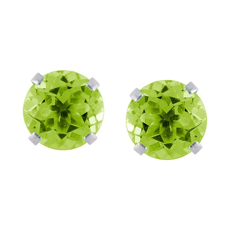 Color Merchants 14k White Gold 6mm Round Peridot Stud Earrings (1.60 ct)