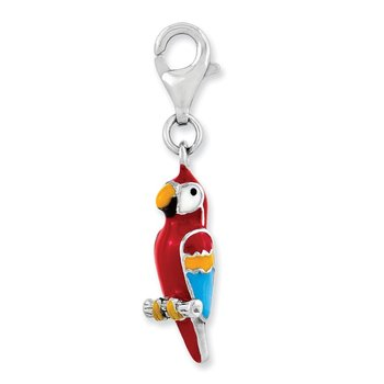 Sterling Silver Rhodium-plated 3-D Enameled Parrot w/Lobster Clasp Charm