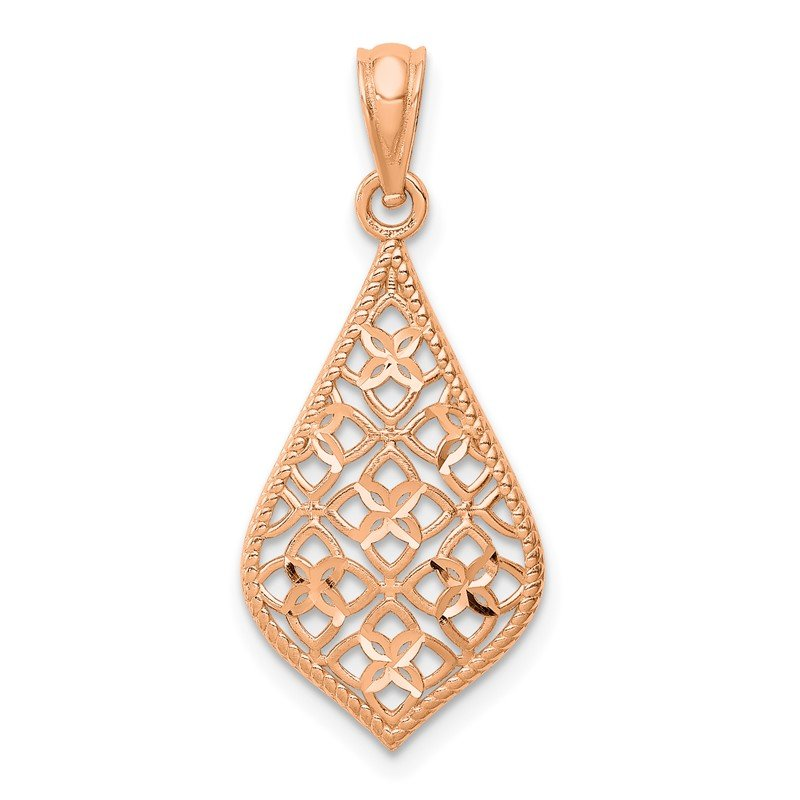 Quality Gold 14K Rose Gold Diamond-cut Dangle Pendant