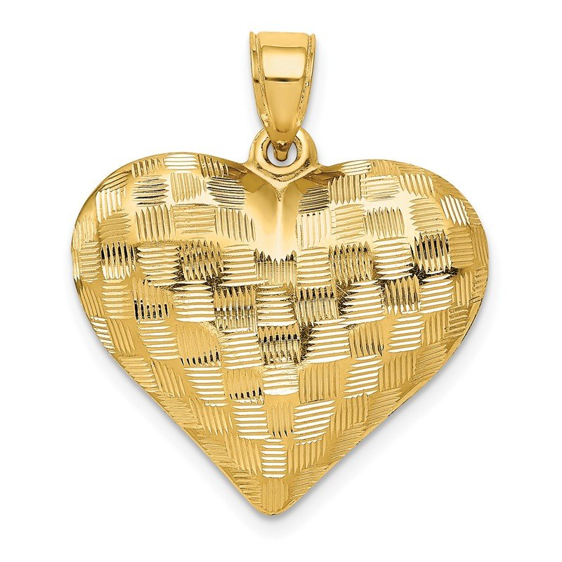 Quality Gold 14K Polished Basket Weave Pattern 3-D Heart Pendant