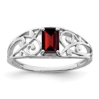 Sterling Silver Rhodium Plated Garnet Ring