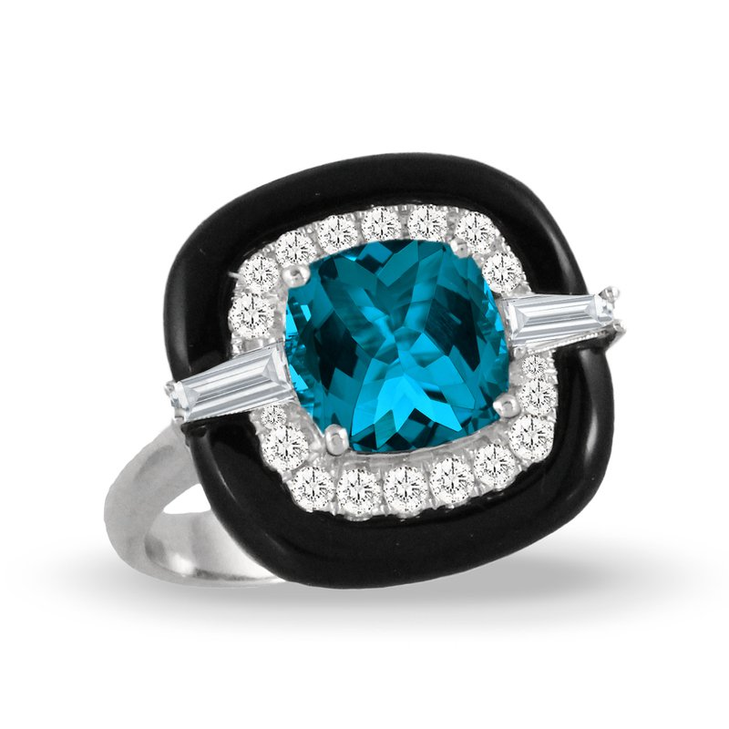 MAZZARESE Couture London Blue Topaz & Onyx Halo Ring 18KW