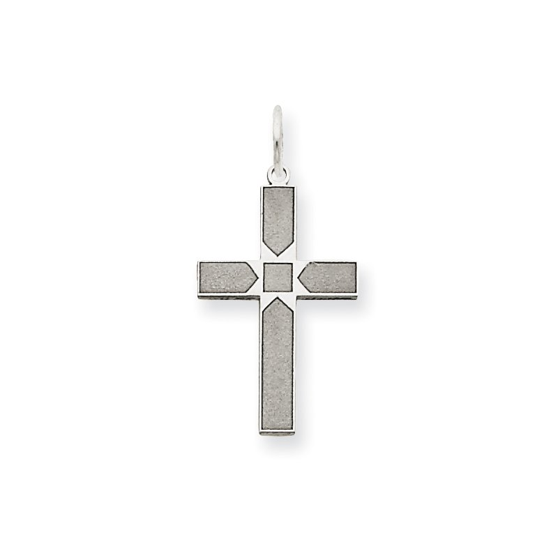 Quality Gold 14K White Gold Laser Designed Cross Pendant